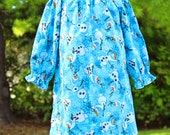 Frozen Inspired Olaf Flannel Peasant Nightgown