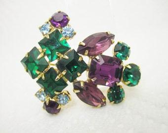 Vintage Purple Green Blue Rhinestone Pin Brooch Mardi Gras Colors