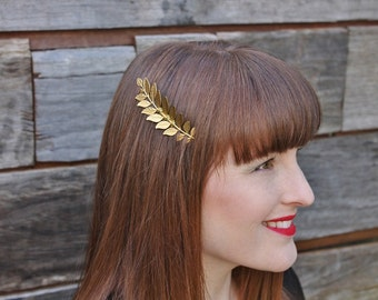 Grecian Gold laurel leaf hair comb