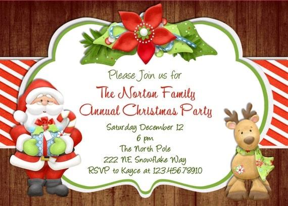 Rustic Wood Christmas Party Invitation Santa Reindeer Custom Printable