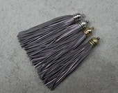Metallic Gray Leather(Cowhide) TASSEL in 12mm Dome-shaped Gold, Silver, Antique Brass or Antique Silver Plated Cap- Pick your tassel cap