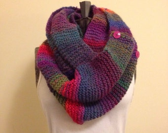 Knitted Multi Stripe Infinity Scarf