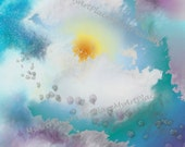Digital Papers-Clouds, Instant Download, Blue Sky Background, Cloud Paper, Sun, Scrapbook Paper, Card Supplies, Clip Art