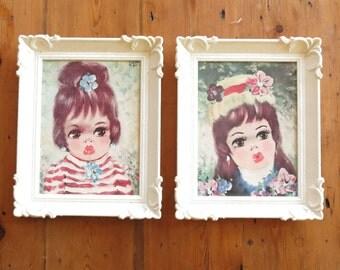 Vintage Pair of Big Eyed Kitsch Kawaii Childrens Nursery Wall Decor Prints With Plastic Frames