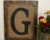 Monogram G, Rustic, BURLAP, reception decor, BROWN 12x10 sign
