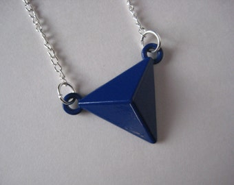 Simple Geometric Blue Triangle Necklace