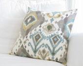Throw Pillows, Decorative Pillows,Ikat Couch Pillows, Grey Teal Yellow Ikat Pillow Covers,Ikat Pillows,20 in decorative pillows,Blue Pillows