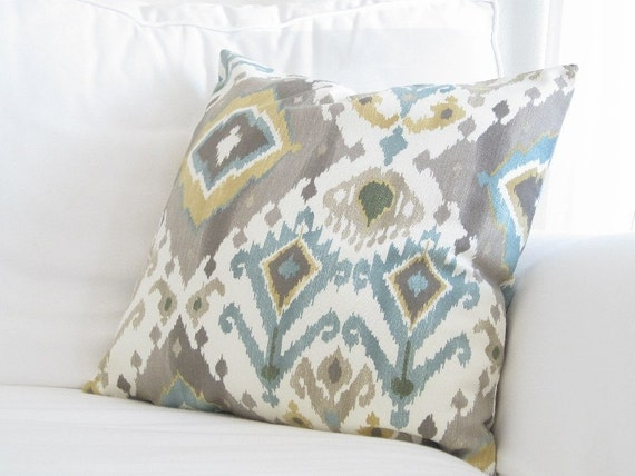 Throw Pillows On Grey Couch : Throw Pillows Decorative PillowsIkat Couch Pillows Grey