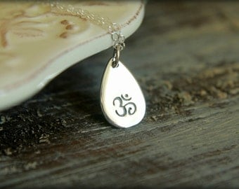 Stamped Ohm Teardrop Necklace in Sterling Silver