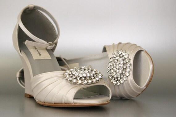 Ivory Wedding Wedge Heels: Wedding Shoes / Dark Ivory Wedding Shoes / By