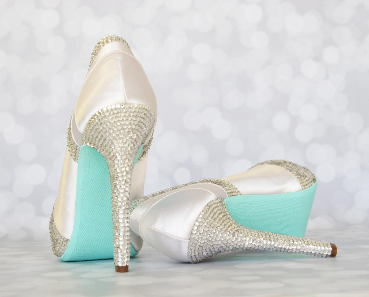 CUSTOM CONSULTATION Wedding Shoes White Crystal