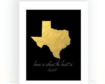 Texas Art - Texas Art Print - Texas Map Art - Texas State - Texas State Art - Gold And Black Decor - State Artwork - Minimalist Art Print