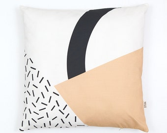 Memphis Milano Cushion Cover, organic cotton pillow case, decorative cushion, peach color, Geometric Cushion, home decor, Depeapa