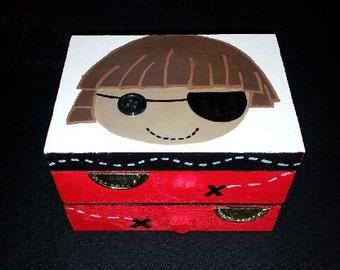 Pirate Treasure Box, handpainted, jewelry box, lala loopsy, personalized, gift