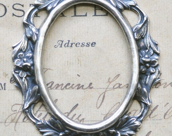 Open Cameo Setting, 40 X 30mm with gaps, Sterling Silver Finish