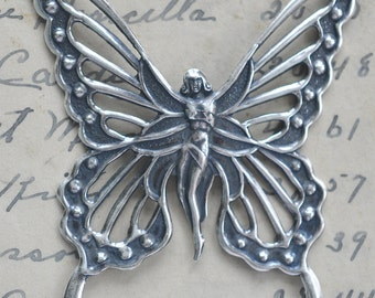 Fairy with Wings Brass Stamping, Sterling Silver Finish
