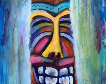Tiki art, summer art, totem, beach art, tiki bar, beach wall art, original artwork, impressionistic, colorful wood carving, idol, happy tiki