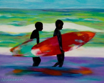 Surf board art, surfing, beach art, colorful surfboard painting, boys surfing, beach decor, kids surf decor, boys bedroom decor, surf art