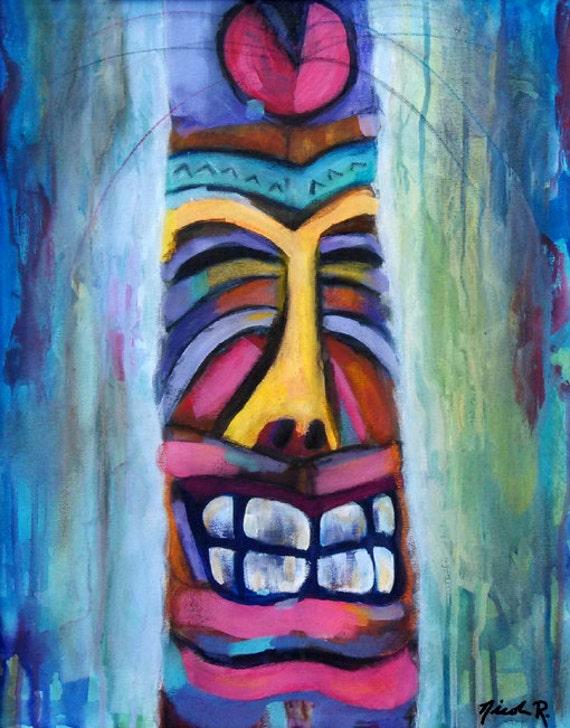 Studio clearance sale, art sale, Tiki art, totem, beach art, tiki bar, beach wall art, impressionistic, colorful wood carving, happy tiki