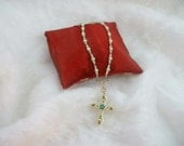 Gold & Green Cross Pendant with Beaded Necklace Handcrafted by alexKjewelry