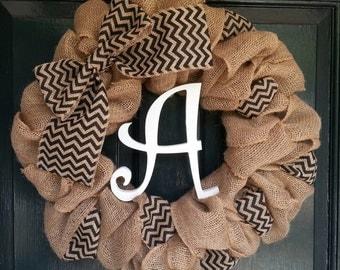 Burlap Wreath with Black Chevron Burlap Bow and Monogram- Front Door Wreath- Monogram Wreath-Wedding Decoration- Wedding Gift-