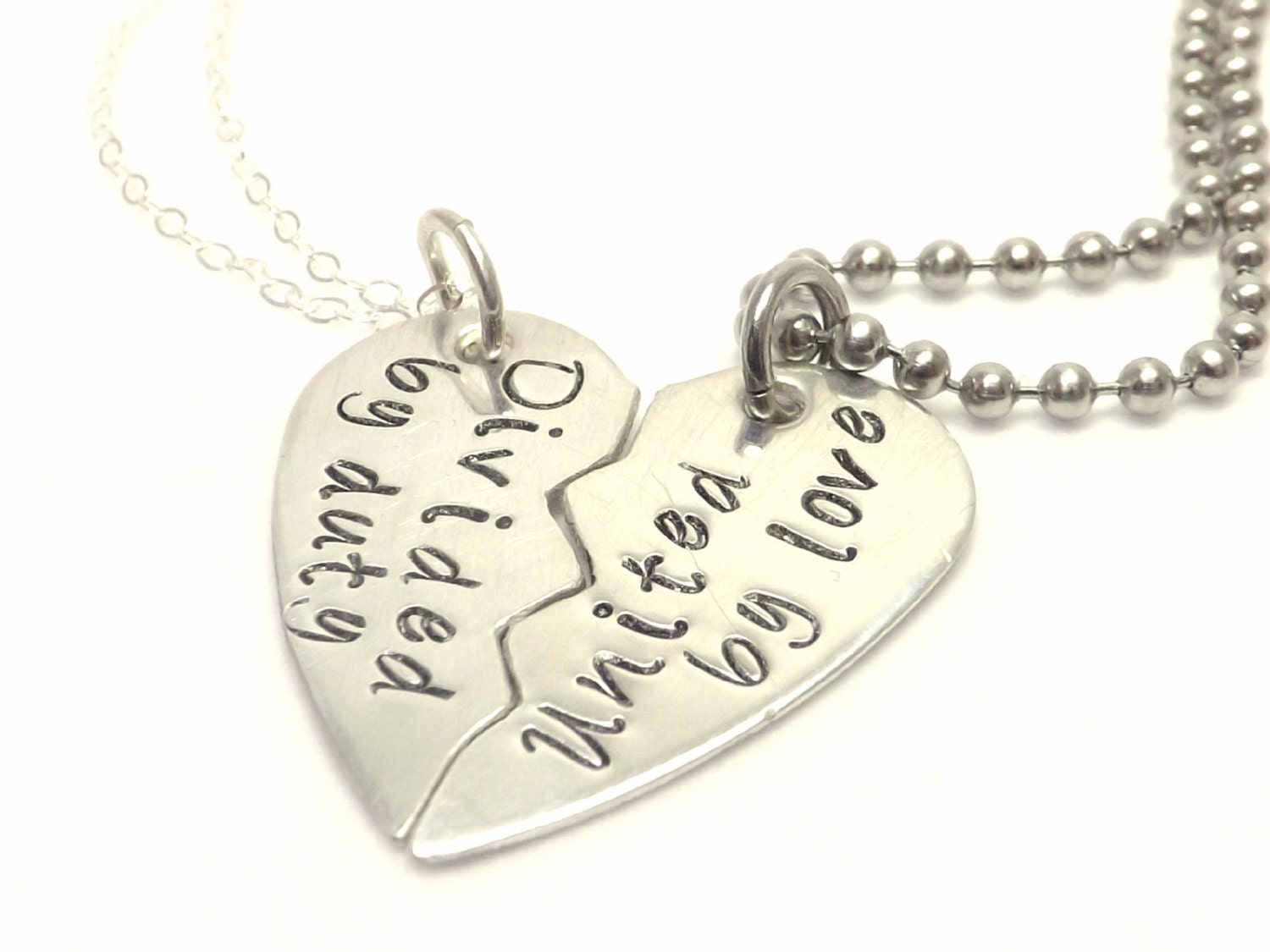 Sterling Silver Broken Heart Necklace Set United by Love
