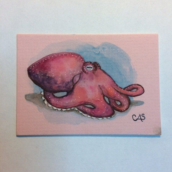 Octopus Original Watercolor Painting ACEO