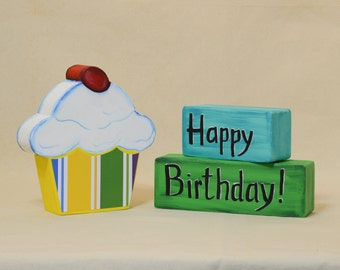 Birthday Cupcake Photo Prop 2 Inch Thick Table Decoration Free Personalization Happy Birthday Blocks
