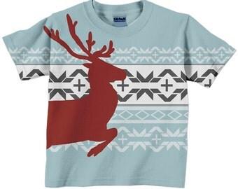 Nordic Shirt, Children's Reindeer Tshirt, Children's Holiday Clothing