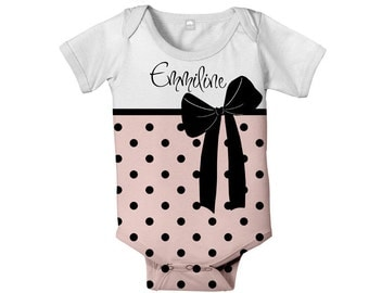 Personalized Bodysuit, Baby Girl Snapsuit,  Pink Polka Dot Bow Baby Clothing
