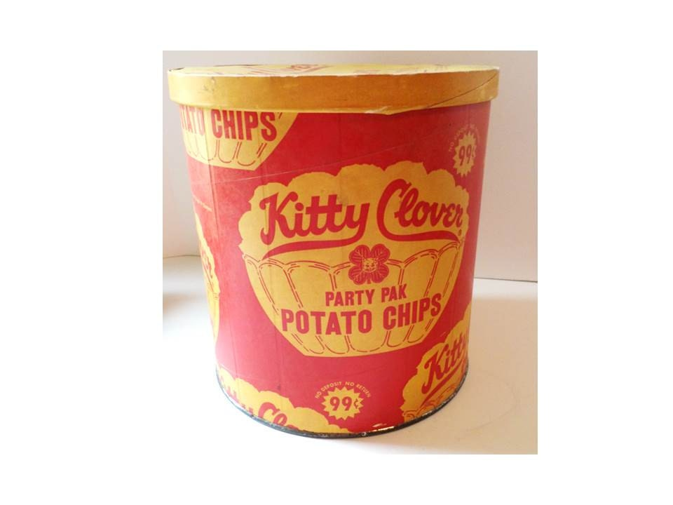 Vintage Kitty Clover Wax Paper Potato Chip Container
