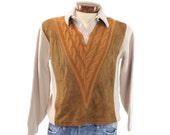 Vintage 50s Sweater Pullover Collared Sweater Vest Suede Cable Knit Sweater Mens Rockabilly Fashion 1950s Medium M Republic Brown Sweater