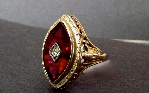 RESERVED Marie/Sale/Vintage One of a Kind 14K Art Deco Filigree Ruby Diamond Ring