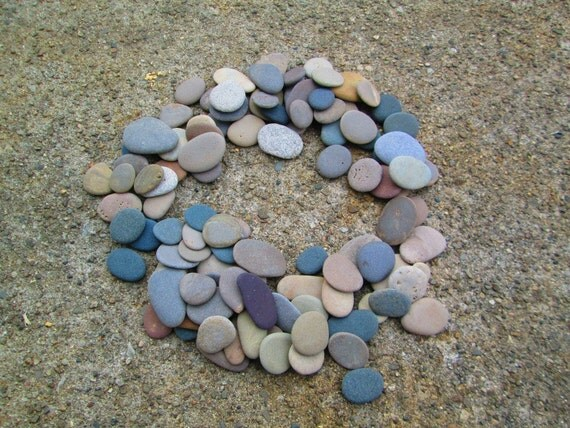 100 smooth flat beach stones lake michigan mosaic by for Flat stones for crafts