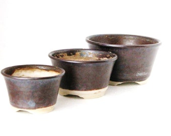 Vintage Set of (3) Round Planter Pots w/ Dark Brown Stoneware Finish / Sm Med Lge GR8 4 HERBS Ikebana Suiban
