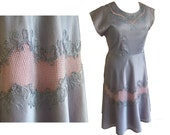 Vintage 1950s grey and pink cocktail / party dress XL UK 16 waist 36""