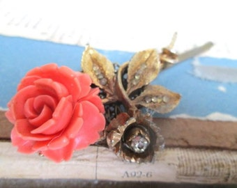 Coral Wedding Hairpiece Bridal Hairpin Gold Leaves Rhinestones Valentines Jewelry