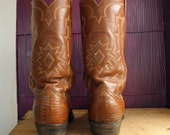 Sz 9.5D TONY LAMA Vintage Brown Lizard Leather Black Label Country Western Boots MeN