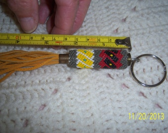 Handbeaded Peyote stitch keychain with genuine leather accents