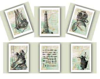 Nautical prints, dive print, Scuba Diver helmet,sailor knots,lighthouse,antique map East America, diving beach cottage decor, set of 6