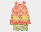 Little Girl Pink Floral Summer Dress set