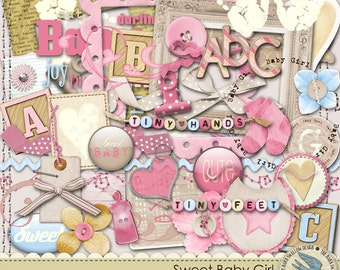 "Digital Elements Pack Instant Download - ""Sweet Baby Girl"" - Great for baby girl scrapbooks, cards, invitations, crafts"