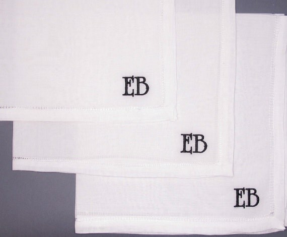 Embroidered Personalized Groomsman's Gifts Linen Handkerchiefs.  Set of 3.