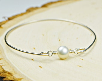Coin Pearl Bangle Bracelet- White Coin Pearl and Sterling Silver Filled Wire Wrapped Bracelet- Custom Made to Size