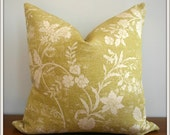 Green Floral Pillow Cover / 20x20 inches