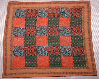 Quilt Patterned Silk Scarf  1960's