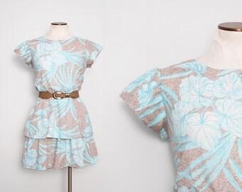 1980s Mini Dress. Tropical Dress. Floral Print Dress. Fit and Flare Dress. Aqua Blue Dress. Women's Sundress. 80s Tiered Dress. Small Medium
