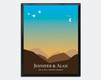 Wedding Guest Book Poster PDF - Romantic Moonlit Mountains - Personalized Printable