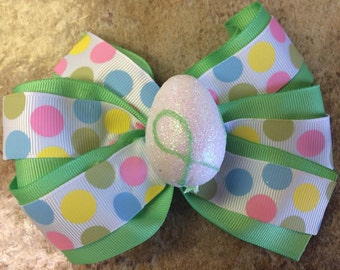Polka dot Easter egg bow