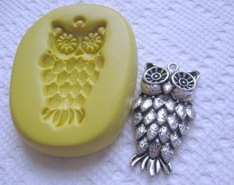 OWL with bail hole Food Grade Quality Flexible silicone push mold for food, crafts, jewelry making, FIMO, Sculpey, wax, soap..